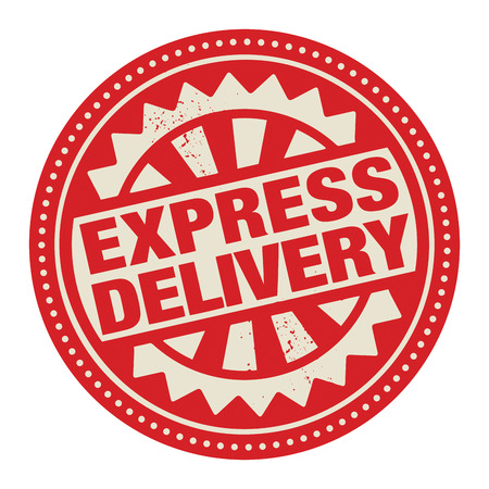 paper delivery person: Abstract stamp or label with the text Express Delivery written inside