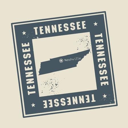 tennesse: Grunge sello de goma con el nombre y el mapa de Tennessee, EE.UU. Vectores