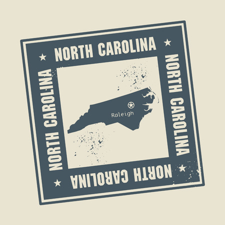 charlotte: Grunge rubber stamp with name and map of North Carolina, USA Illustration