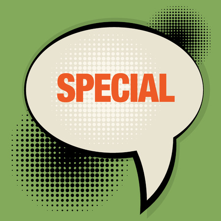 top pointer: Speech bubble with text Special Illustration