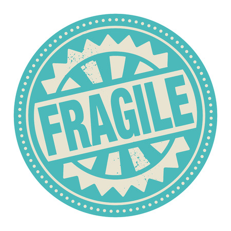 breakable: Abstract stamp or label with the text Fragile written inside