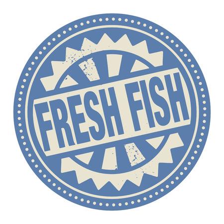 manjar: Sello Abstract o etiqueta con el texto escrito en su interior el pescado fresco