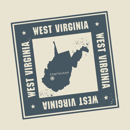 west virginia: Grunge rubber stamp with name and map of West Virginia, USA
