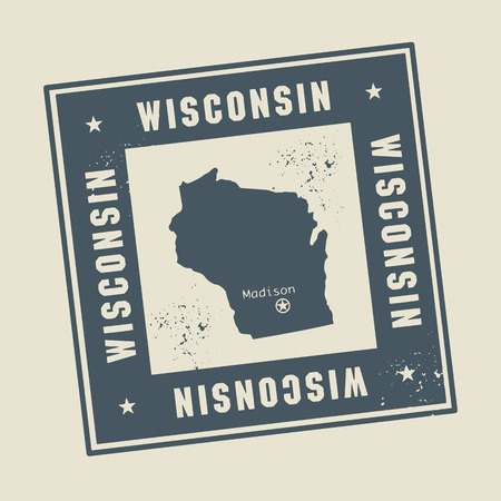 state of wisconsin: Grunge rubber stamp with name and map of Wisconsin, USA