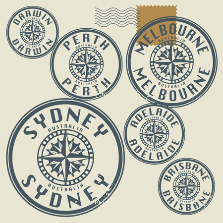australia stamp: Grunge rubber stamp set with names of Australia cities