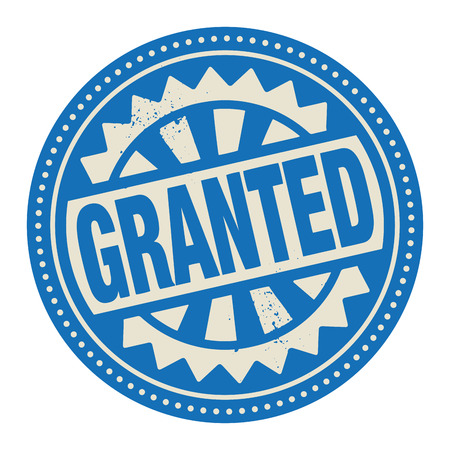 granting: Abstract stamp or label with the text Granted written inside