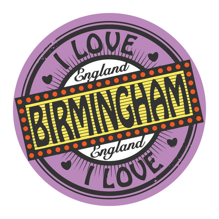 birmingham: Grunge color stamp with text I Love Birmingham inside