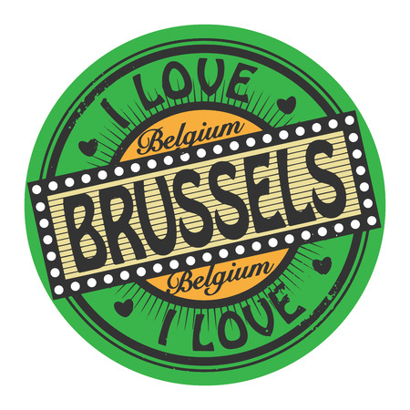 Grunge color stamp with text I Love Brussels inside Vector