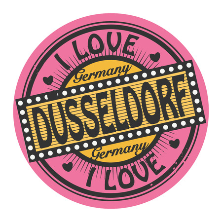 Grunge color stamp with text I Love Dusseldorf inside Vector