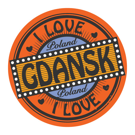 gdansk: Grunge color stamp with text I Love Gdansk inside