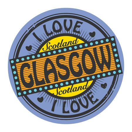 glasgow: Grunge color stamp with text I Love Glasgow inside Illustration