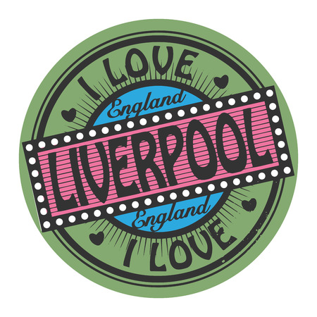 liverpool: Grunge color stamp with text I Love Liverpool inside