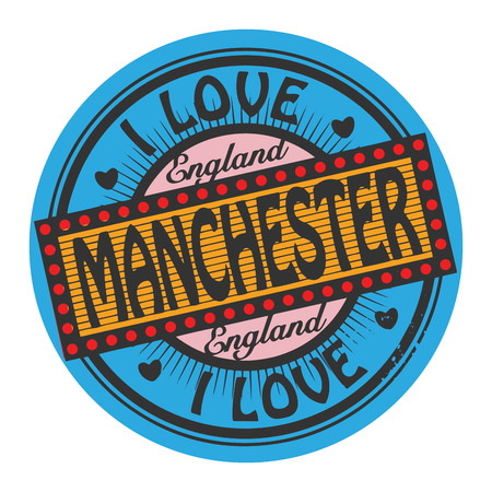 manchester: Grunge color stamp with text I Love Manchester inside