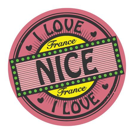 nice france: Grunge color stamp with text I Love Nice inside Illustration