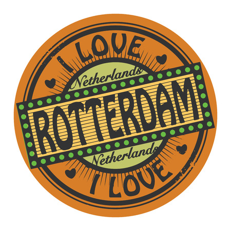 rotterdam: Grunge color stamp with text I Love Rotterdam inside
