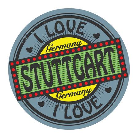 stuttgart: Grunge color stamp with text I Love Stuttgart inside Illustration