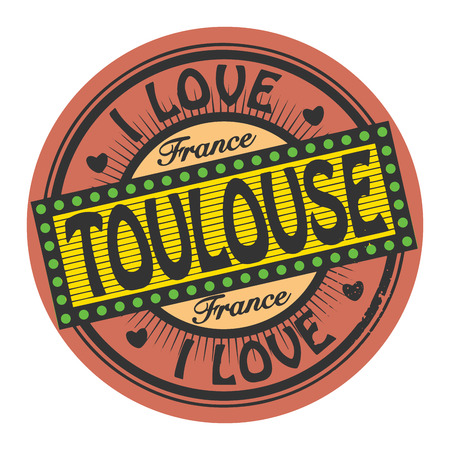 toulouse: Grunge color stamp with text I Love Toulouse inside