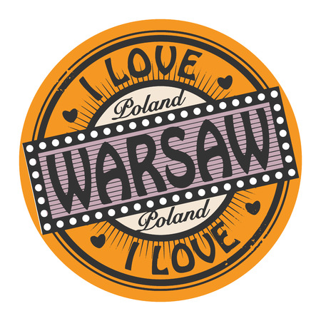 warsaw: Grunge color stamp with text I Love Warsaw inside Illustration