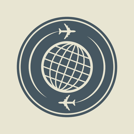overseas: Aviation or airport sign or label Illustration