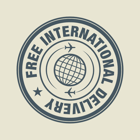 air shipping: Free international Delivery sign or label
