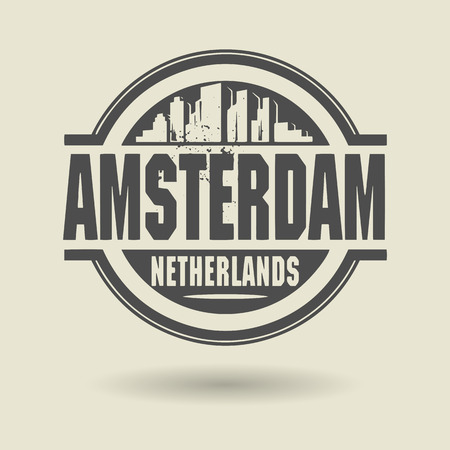 Stamp or label with text Amsterdam, Netherlands inside Vector