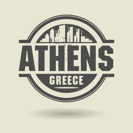 Stamp or label with text Athens, Greece inside Vector