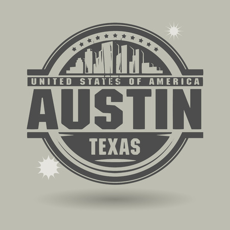 Stamp or label with text Austin, Texas inside Vector