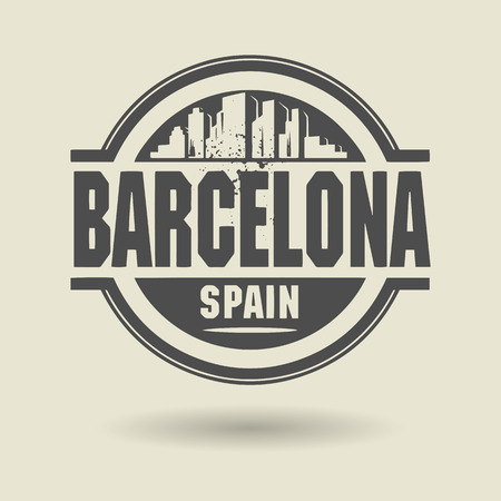 Stamp or label with text Barcelona, Spain inside Vector