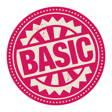 basic: Abstract stamp or label with the text Basic written inside