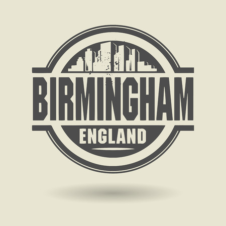 birmingham: Stamp or label with text Birmingham, England inside Illustration