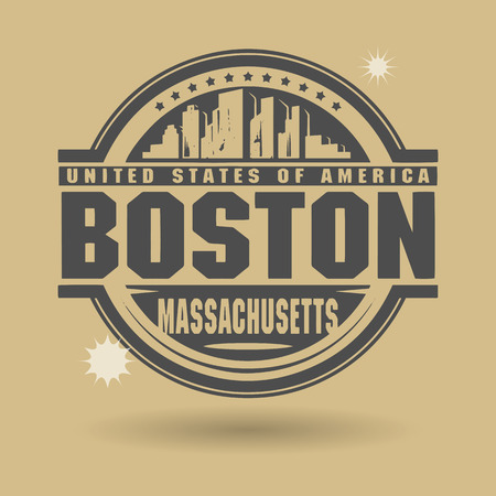 Stamp or label with text Boston, Massachusetts inside Vector
