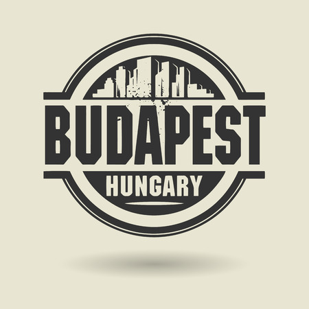 Stamp or label with text Budapest, Hungary inside Vector