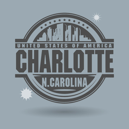 charlotte: Stamp or label with text Charlotte, North Carolina inside