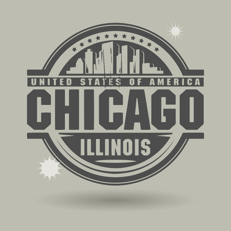 Stamp or label with text Chicago, Illinois inside Vector