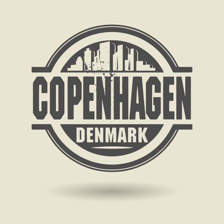 Stamp or label with text Copenhagen, Denmark inside Vector