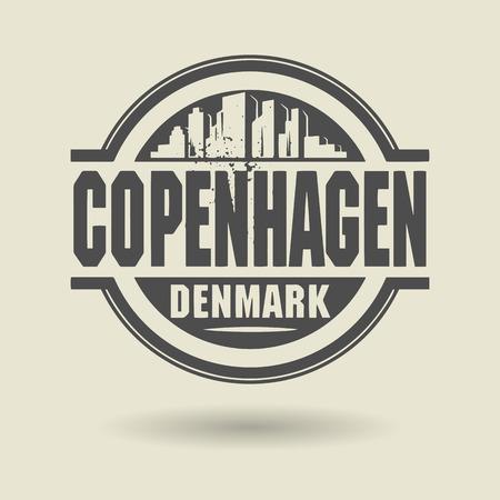 Stamp or label with text Copenhagen, Denmark inside Vector