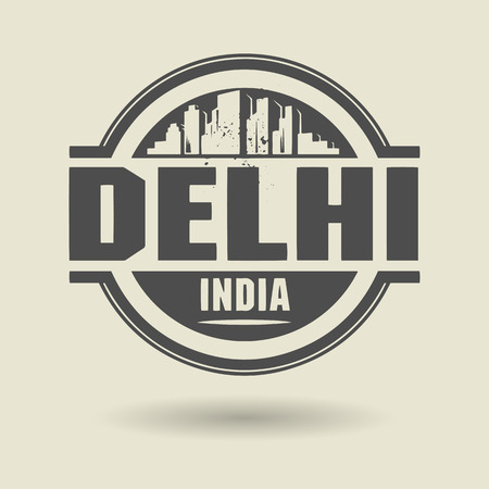 deli: Stamp or label with text Delhi, India inside