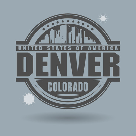 capital of colorado: Stamp or label with text Denver, Colorado inside Illustration