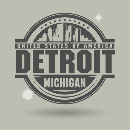 Stamp or label with text Detroit, Michigan inside Vector
