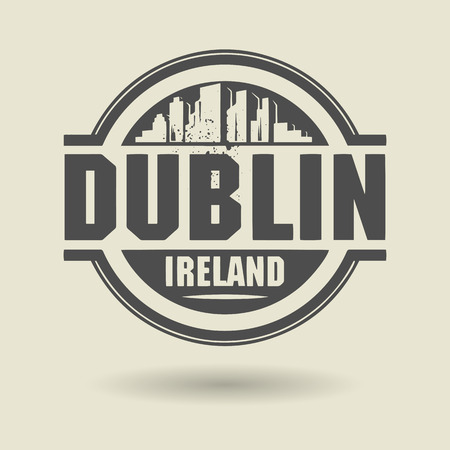irish cities: Stamp or label with text Dublin, Ireland inside