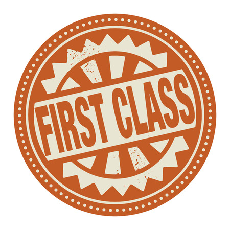 first class: Abstract stamp or label with the text First Class written inside