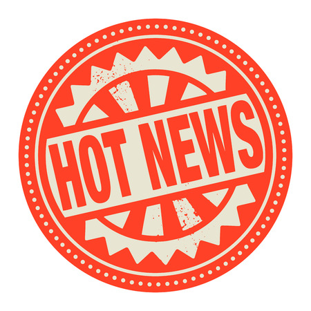 Abstract stamp or label with the text Hot News written inside Vector