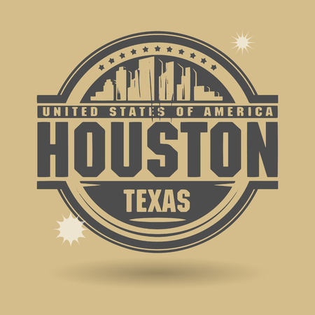 Stamp or label with text Houston, Texas inside