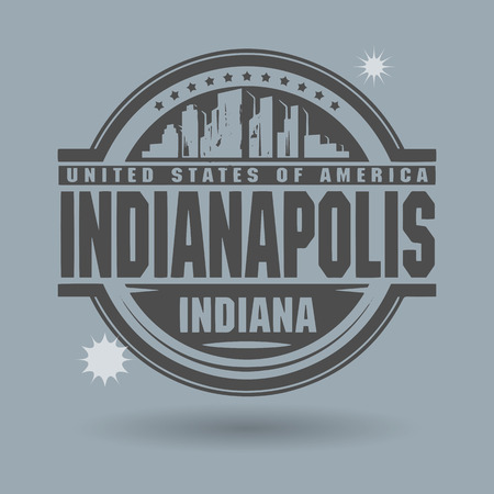 Stamp or label with text Indianapolis, Indiana inside Illustration