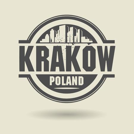 krakow: Stamp or label with text Krakow, Poland inside