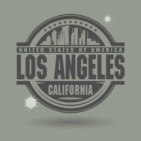 Stamp or label with text Los Angeles, California inside Vector
