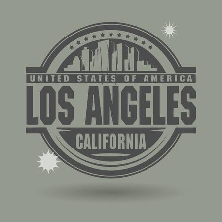 timbre voyage: Tampon ou une étiquette avec le texte de Los Angeles, en Californie, à l'intérieur