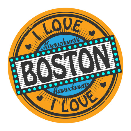 boston: Grunge color stamp with text I Love Boston inside Illustration