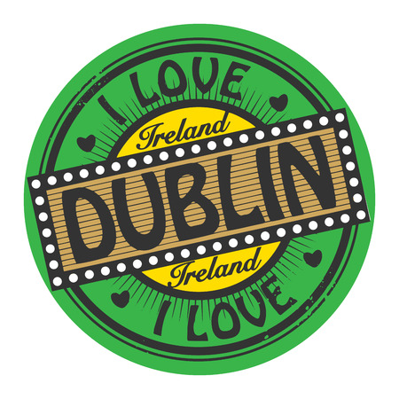 Grunge color stamp with text I Love Dublin inside Vector