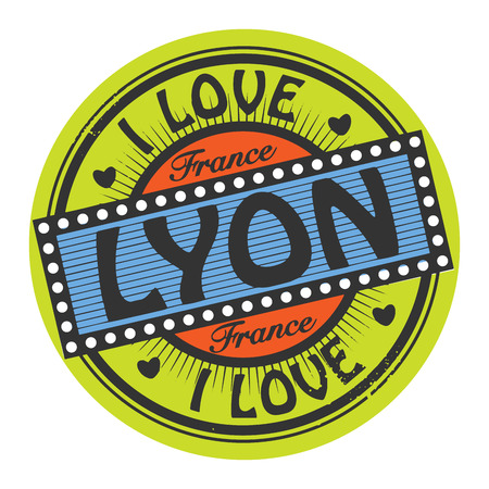 Grunge color stamp with text I Love Lyon inside Vector